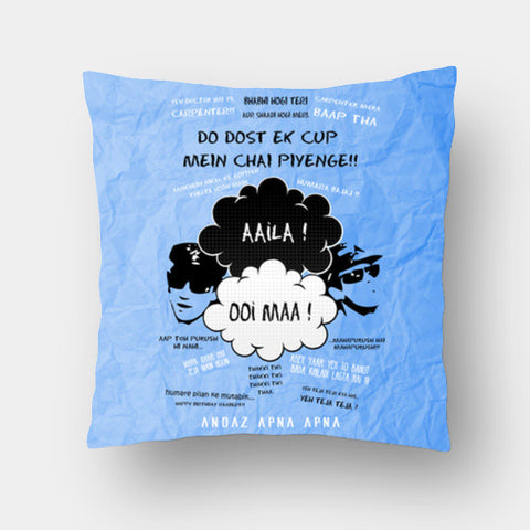 Cushion Covers, Andaz Apna Apna Dialogues Cushion Covers | Artist : Deepak Gupta, - PosterGully