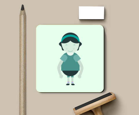 Happy School Girl Cartoon Coasters | Artist : Mani Selvam