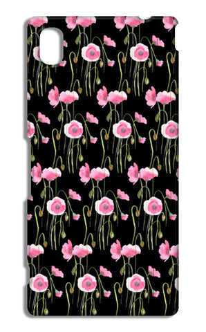 Abstract Pink Poppies Spring Floral Pattern Black Sony Xperia M4 Aqua Cases | Artist : Seema Hooda