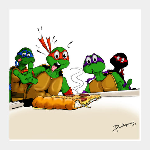 Square Art Prints, Ninja Turtles - Pizzaaa!! Square Art Prints | Artist : Paul D' Rozario, - PosterGully