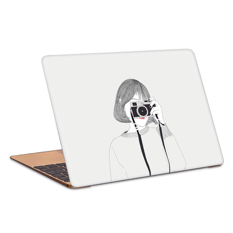 Cute Photographer Clicking Picture Artwork Laptop Skin