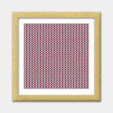 Retro Geometric Pink And Green Diamond Stripes Print Pattern Premium Square Italian Wooden Frames | Artist : Seema Hooda