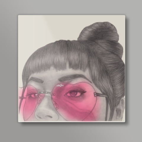 Betty With The Glasses Square Metal Prints | Artist : Anniez Artwork