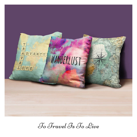Set of 3 Travel Diaries Cushion Covers