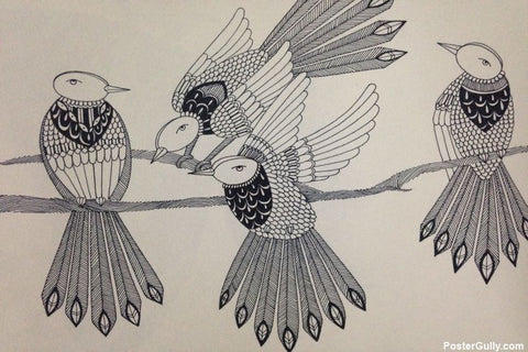 Wall Art, Birds Doodles Artwork | Artist: Aishwarya Bandiwadekar, - PosterGully - 1