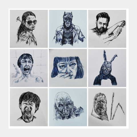 Daily Movie Sketch Collection 1 Square Art Prints | Artist : Karthik Abhiram
