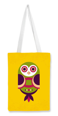 Unique geometric owl on yellow Tote Bags | Artist : Designerchennai
