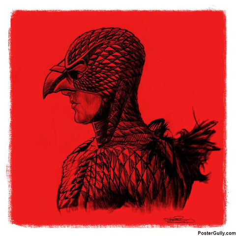 Square Art Prints, Bird Man Red Artwork | Artist: Sri Priyatham, - PosterGully