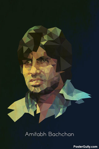 Wall Art, Amitabh Geometrical Artwork | Artist: Abhishek Aggarwal, - PosterGully - 1