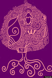 Brand New Designs, Buddhism Pink Purple Artwork | Artist: Meghnanimous, - PosterGully - 1