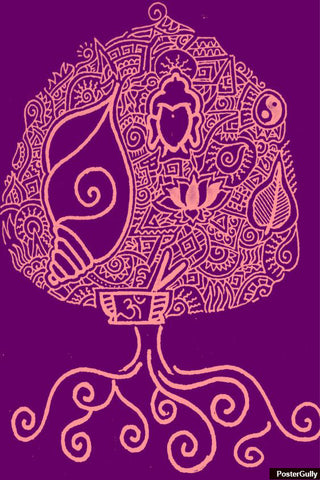 Wall Art, Buddhism Pink Purple Artwork | Artist: Meghnanimous, - PosterGully - 1
