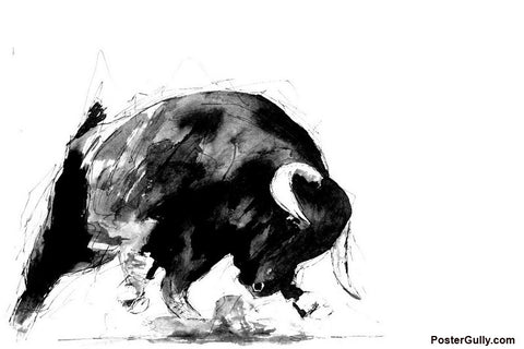 Wall Art, Angry Bull 2 Artwork | Artist: Sunanda Puneet, - PosterGully - 1