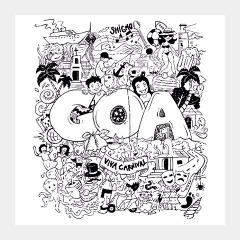 Square Art Prints, Goa Doodle Square Art | Artist: inkT, - PosterGully