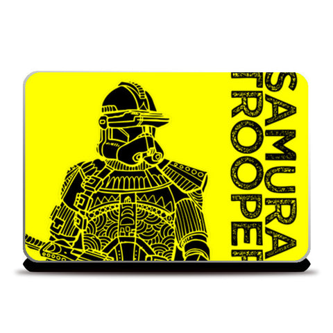 Samurai Trooper : Star Wars Inspired Original Art, Yellow, Black, Pop Art, Trendy Graphic Art Laptop Skins | Artist : SREEJITH v
