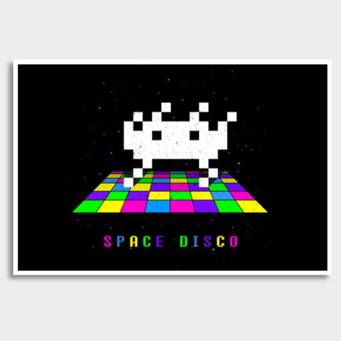 Space Disco pixel space invader dance Giant Poster | Artist : 8bitbaba