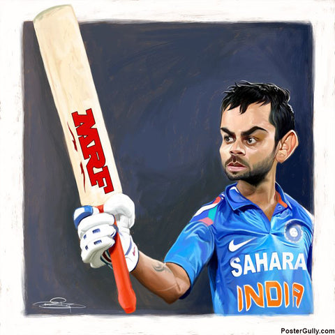 Square Art Prints, Virat Kohli Caricature Artwork | Artist: Sri Priyatham, - PosterGully