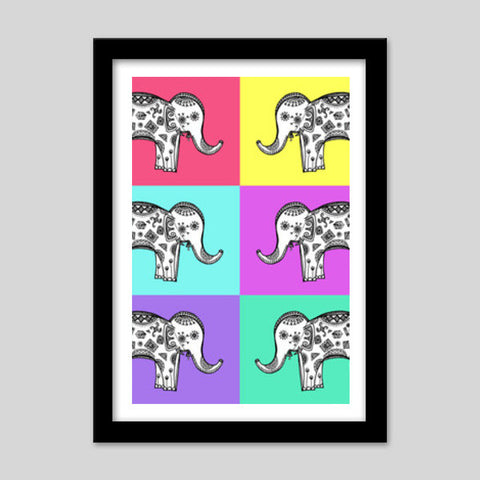 Colourful Elephant Patterns Premium Italian Wooden Frames | Artist : Amulya Jayapal