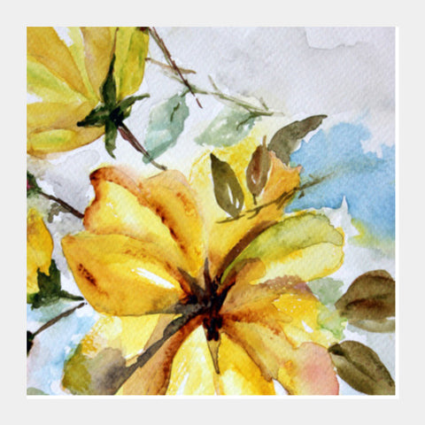 Square Art Prints, Large Yellow Flower Watercolor Floral Painting Square Art Prints | Artist : Seema Hooda, - PosterGully