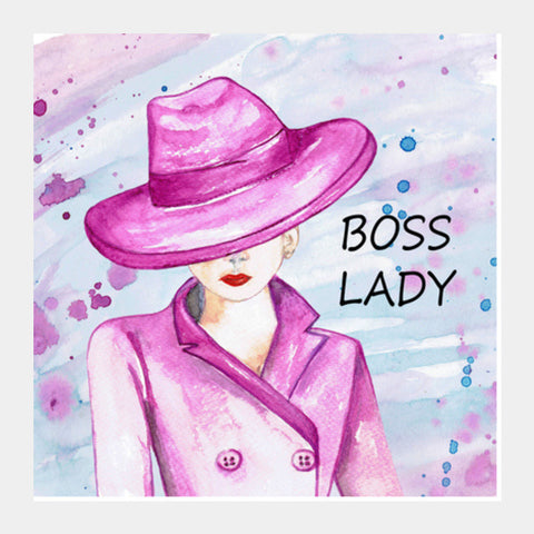 Boss Lady Watercolor Fashion Art Illustration Girls Room Poster Square Art Prints PosterGully Specials