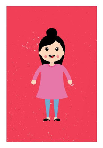 PosterGully Specials, Smiling happy girl cartoon Wall Art | Artist : Designerchennai, - PosterGully