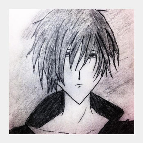 PosterGully Specials, Anime Boy | Pencil Sketch Square Art Prints | Artist : Nandini Rawat, - PosterGully