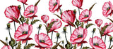 Painted Watercolor Pink Poppies Floral  Coffee Mugs | Artist : Seema Hooda