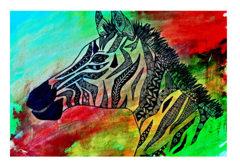 The Rainbow Zebra Wall Art  | Artist : Disha Kedia
