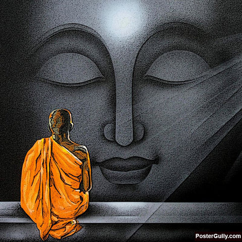Brand New Designs, Buddha Grey Dotted Artwork | Artist: Pradeesh K, - PosterGully