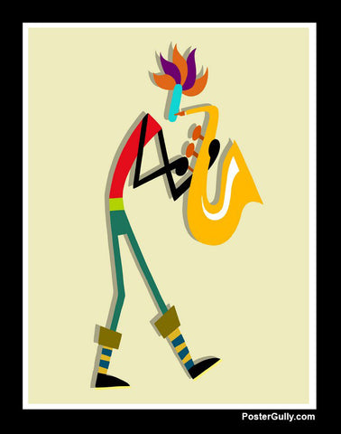 Wall Art, Saxophone Black Artwork | Artist: Prashant Shikare, - PosterGully - 1