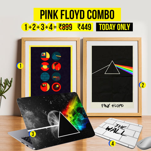 Clearance Carnival Sale - Pink Floyd Combo: 2 Posters + 1 Laptop Skin + 1 Mousepad