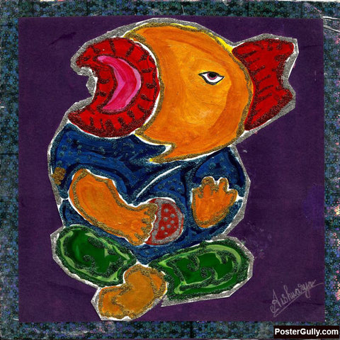 Square Art Prints, Ganesh Ji Artwork | Artist: Aishwarya Girish Menom, - PosterGully
