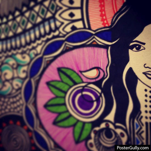 Square Art Prints, Doodle Lady Artwork | Artist: Aishwarya Bandiwadekar, - PosterGully