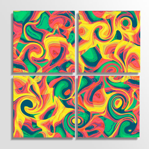 Abstract Swirls_Four Piece Canvas Set | Artist : Design_Dazzlers