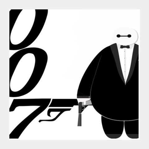 Minimal Baymax James Bond  Square Art Prints | Artist : Mrijoe