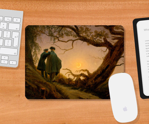 Two Men Contemplating the Moon by Caspar David Friedrich Mousepad | Artist : Aditya Gupta