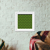 Seamless pattern with leaves on green background Premium Square Italian Wooden Frames | Artist : Designerchennai