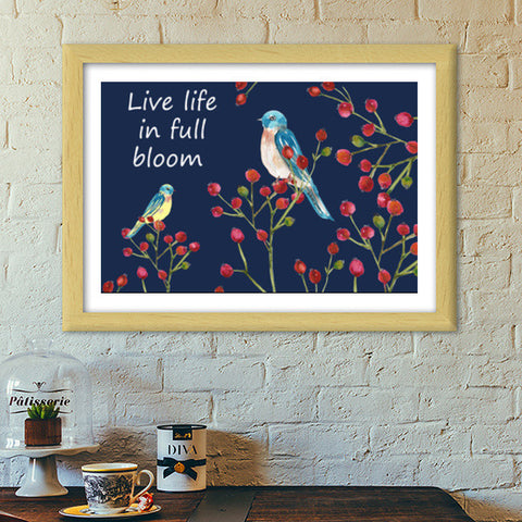 Berries And Birds Painting Nature Wall Decor  Premium Italian Wooden Frames | Artist : Seema Hooda