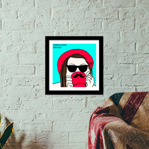 girl with a cup! Premium Square Italian Wooden Frames | Artist : DISHA BHANOT