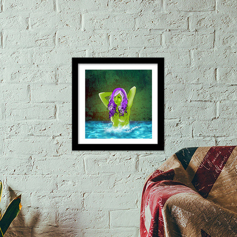 Pretty Green From Pool Premium Square Italian Wooden Frames | Artist : Archana Aravind