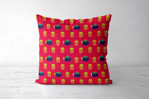 Nukkad vali Chai Pattern Cushion Covers | Artist : Stuti Bajaj