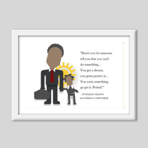 The Pursuit of Happyness |  Minimal Poster | Will Smith | Quotes Premium Italian Wooden Frames | Artist : Sriparna Chandra