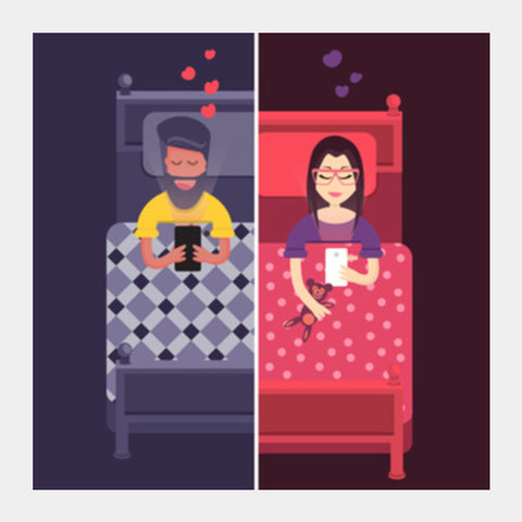 Square Art Prints, Texting Lovers Square Art Prints | Artist : Ronak Mantri, - PosterGully