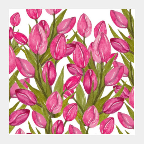 Square Art Prints, Pink Tulips Flowers Spring Floral Background Square Art Prints | Artist : Seema Hooda, - PosterGully