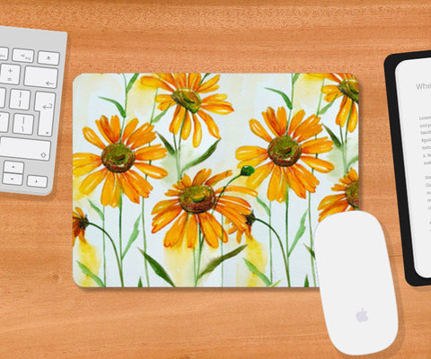 Hand Painted Yellow Spring Flowers Artwork Design Mousepad | Artist : Seema Hooda