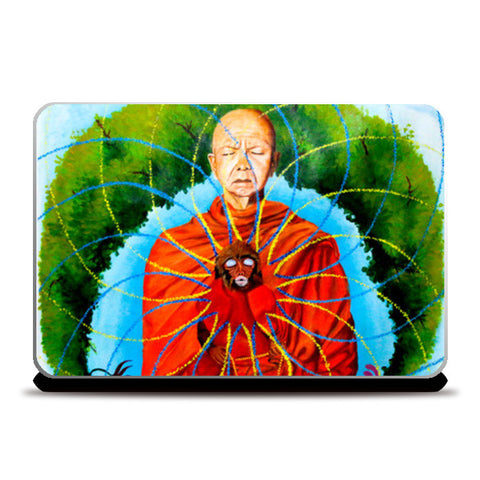 Monkey Shaanti Buddhist Monk Psychedelic Laptop Skins | Artist : Aashna Aasif