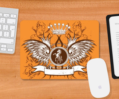 Mousepad, horse with wing,Crown and Floral Mousepad | Artist : Anshuraj Tyagi, - PosterGully