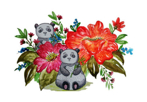 Cute Panda Bear And Flowers Cartoon Animal Background Illustration Art PosterGully Specials
