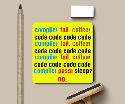 Compile Fail Coffee - Coder, Programmer Coasters | Artist : Manju Nk