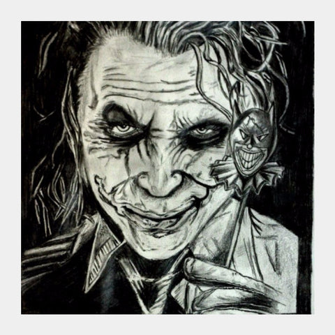 Square Art Prints, Joker Sketch | Artist: Abhinav Moona, - PosterGully