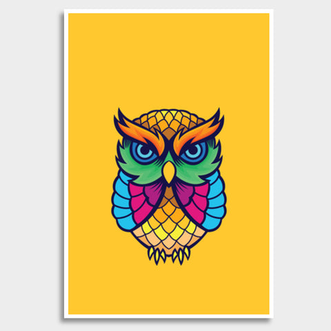 Colorful Owl Giant Poster | Artist : Inderpreet Singh